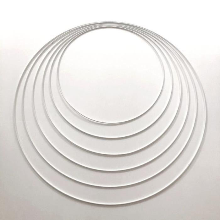 Lot 6 grands Cercles métal blanc Ø 35 cm à 60 cm, Anneaux en Epoxy pour Attrape rêves, abat-jour - Unique