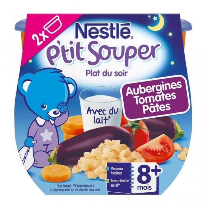 Nestlé P'tit Souper Plat du Soir Aubergine Tomates Pâtes (+8 mois) par 2 pots de 200g (lot de 6 soit