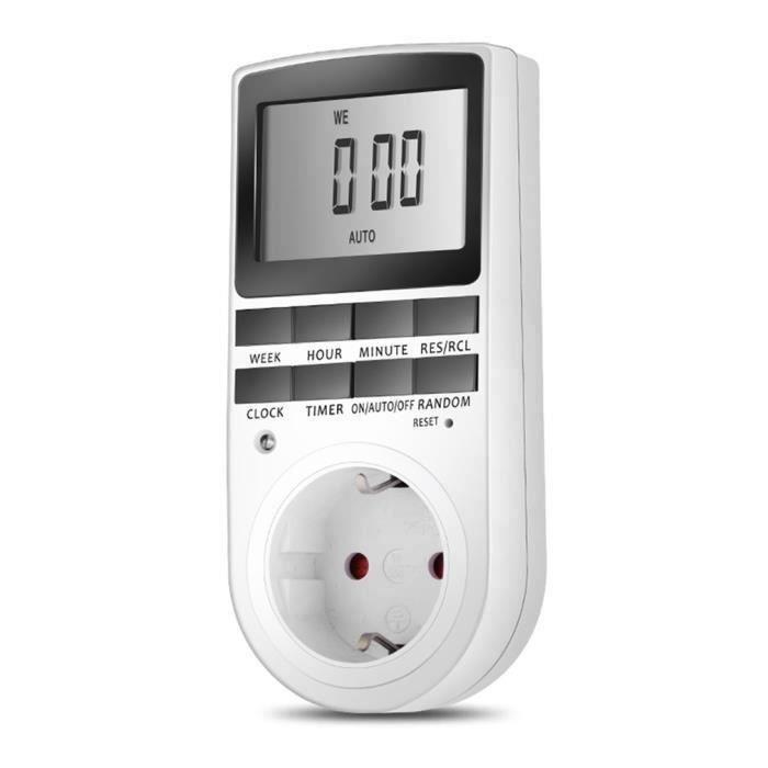 Prise Programmable Digitale, Minuterie Numérique avec Ecran LCD, Minuterie Prise Electrique