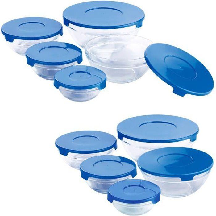 20pcs. Set Tupperware en verre couvercle bleu conteneur pour aliments boites avec couvercle en couleur - pour micro-onde