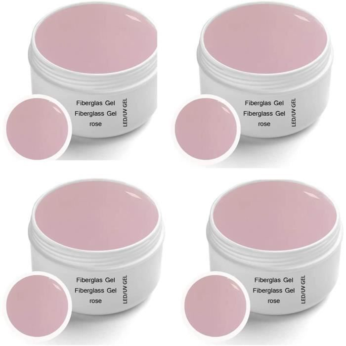 SECHE ONGLES 4 x 30 ml Gel de Fibreglass UV Rose Clear Premium Line finition adheacutesif en gel Top Coat High Gloss monophas1563