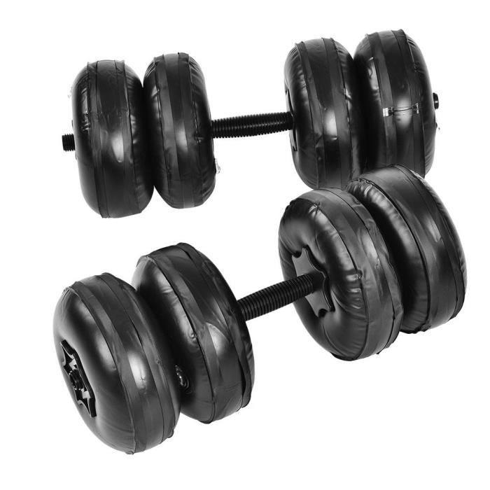 kit Haltère à eau réglable 25kg les haltères musculation noir