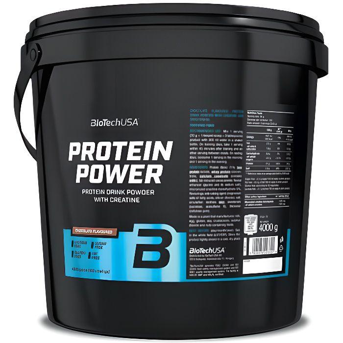 Protein Power 4kg CHOCOLAT Biotech USA Proteine de Whey Caseine Soja Creatine + Glutamine et BCAA
