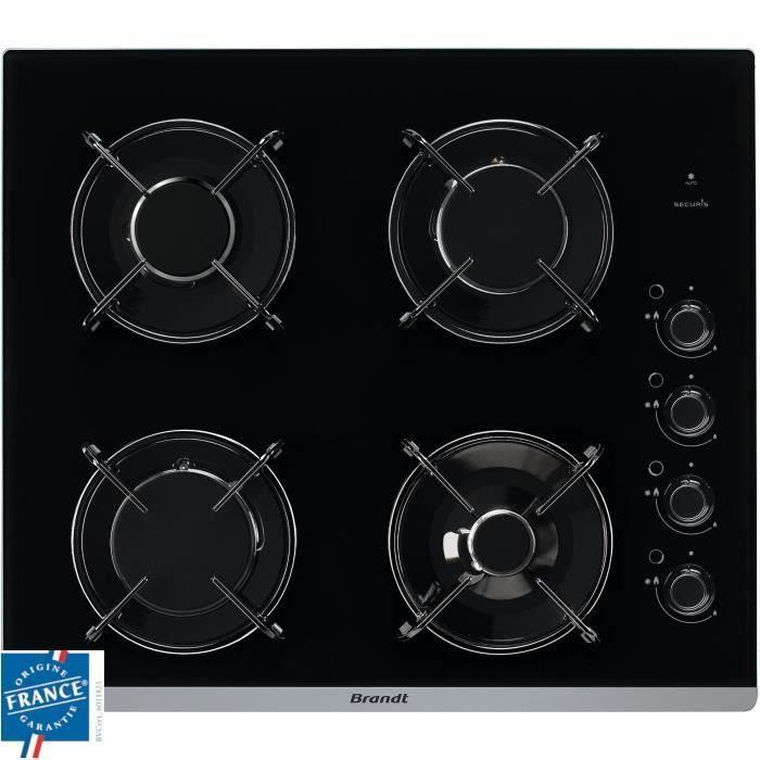 BRANDT BPG6413B Plaque de cuisson gaz - 4 foyers - L 51 x P 58 cm - Revêtement verre - Noir