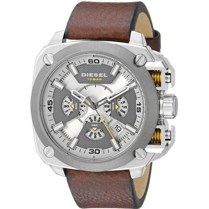 Diesel Montre D'Homme DZ7343 Cadran Beige Chronographe Bracelet Cuir Marron
