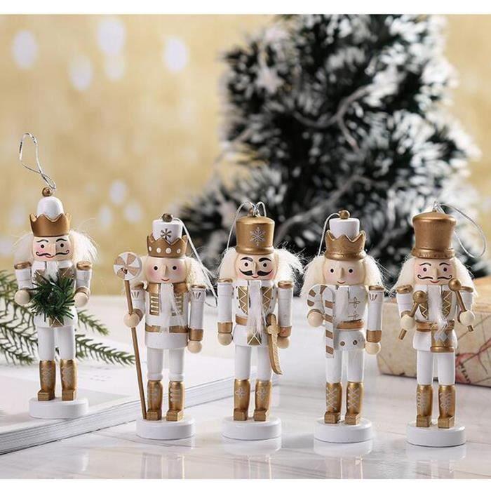 5 Pièces Casse-noisettes Suspendus Ornement Figurines Noël Mini Soldat En Bois Casse-noisette Bien Peint Marionnette Or blanc