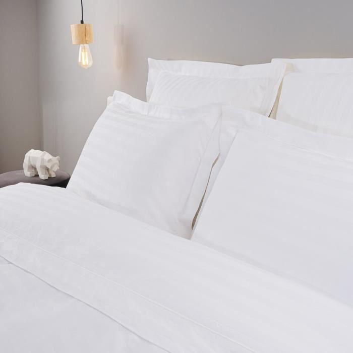 LINANDELLE - Lot de 2 taies d'oreiller coton bande satin 120 fils REVE BLANC - Blanc - 50x70 cm
