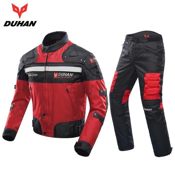 DUHAN Moto Hommes Moto Motocross Off-Road Racing Veste Armure de Corps + Pantalon d'équitation Vêtements Set