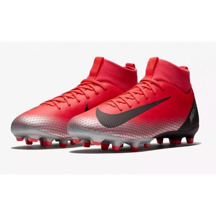 Bota de Futbol Nike CR7 Superfly 6 Academy Suela FG/MG Roja/ Plata Niño