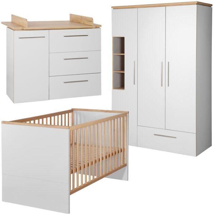 ROBA Ensemble de meubles bébé -Tobi-, lit bébé 70x140 cm, commode á langer, et amoire 3 portes, girs clair-chêne doré