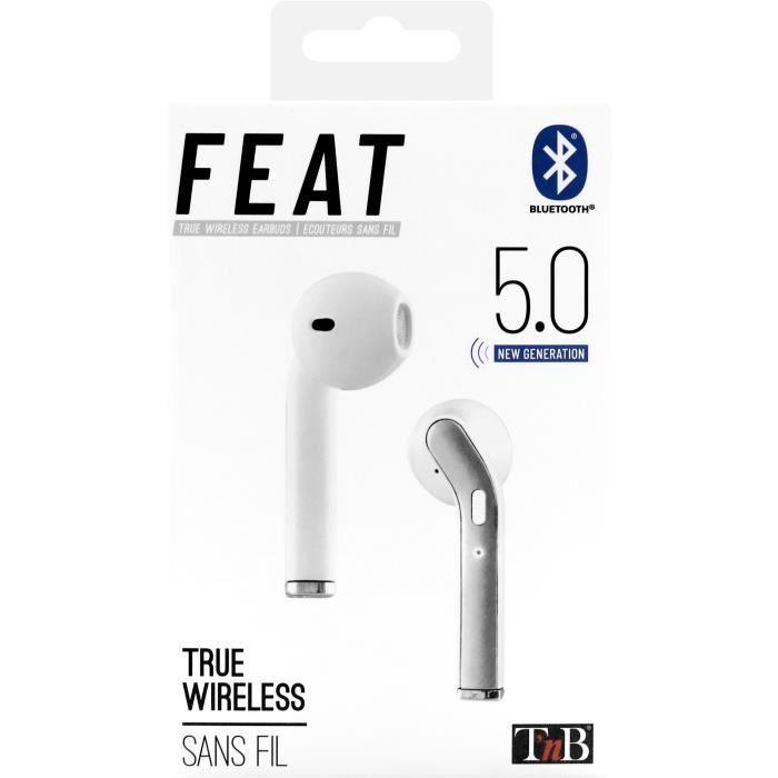 FEAT - Ecouteurs TWS avec boîtier de charge - blanc