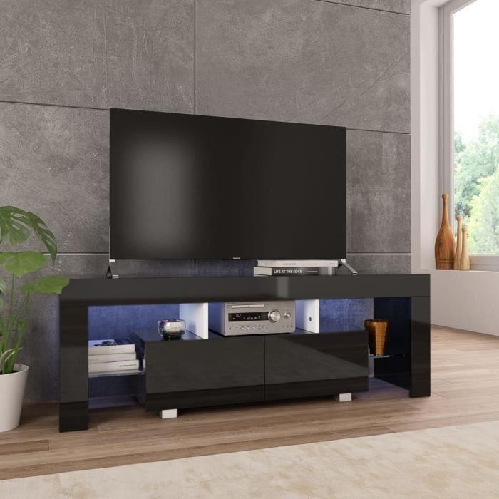 vidaXL Meuble TV avec lumière LED Noir brillant 130 x 35 x 45 cm Poids: 29.7