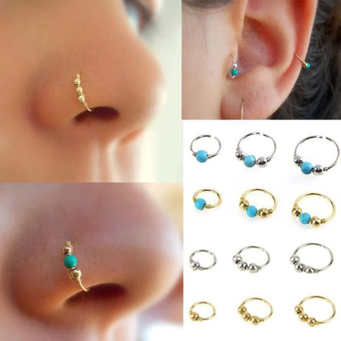 1xstainless en acier nez anneau turquoise nez hoop boucle d 39 oreille piercing bijoux or. Black Bedroom Furniture Sets. Home Design Ideas