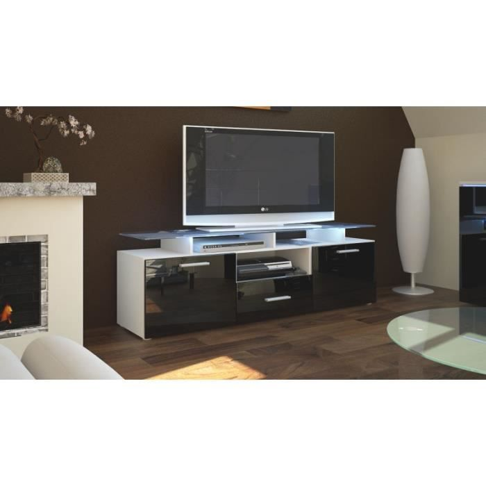 meuble tv laqu blanc et noir avec led 146 cm achat vente meuble tv meuble tv laqu blanc et. Black Bedroom Furniture Sets. Home Design Ideas