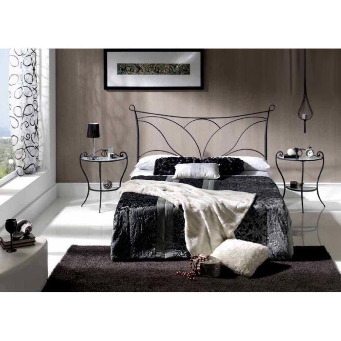 t te de lit en fer forg mod le lyon achat vente t te de lit soldes d t cdiscount. Black Bedroom Furniture Sets. Home Design Ideas