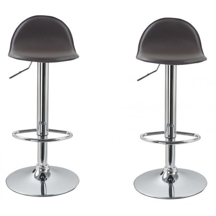 lot de 2 tabourets de bar marron 1209023 achat vente tabouret de bar cuir acier cdiscount. Black Bedroom Furniture Sets. Home Design Ideas