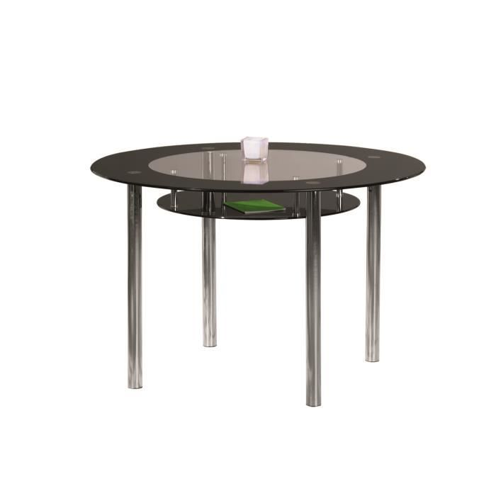 Altea table ronde en verre decor noir achat vente table manger altea - Table a manger verre noir ...