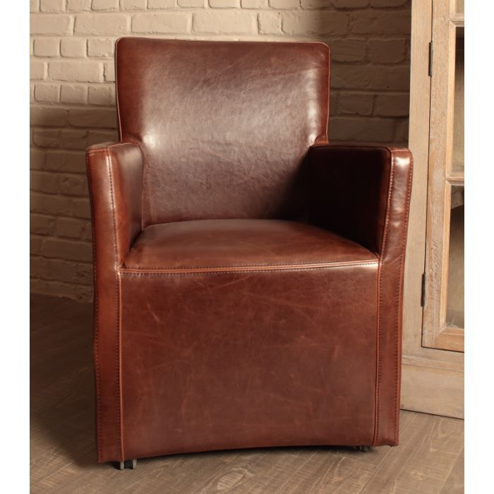 fauteuil en cuir sur roulettes 39 vintage 39 achat vente chaise cuir cdiscount. Black Bedroom Furniture Sets. Home Design Ideas