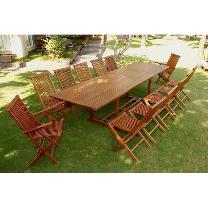 GRENACHE: Salon de jardin teck huilé 12-14 pers. 10 Chaises ...