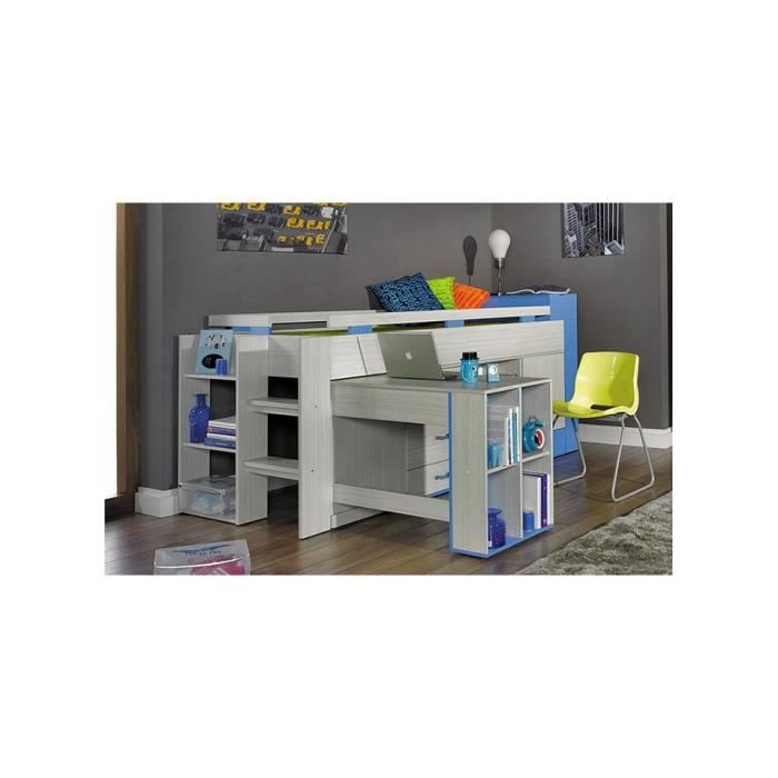lit combin bureau enfant papillon bleu achat vente lit combine cdiscount. Black Bedroom Furniture Sets. Home Design Ideas