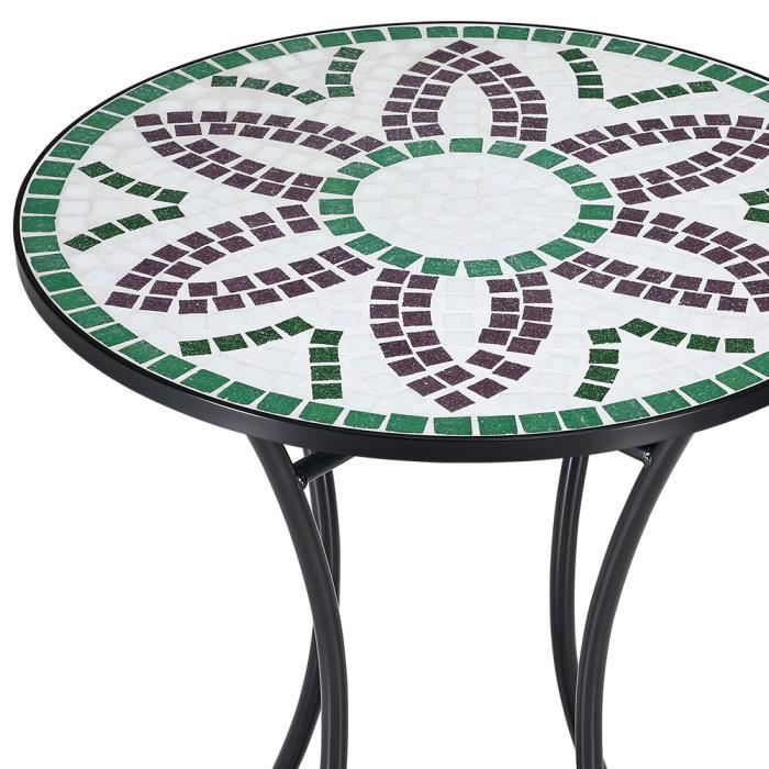 Table gu ridon mosaique design flora 60 cm achat vente table de jardin table gu ridon for Achat table de jardin mosaique