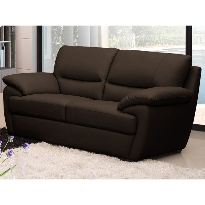 Canap cuir de buffle venise 2 places marron achat vente canap sofa - Densite assise canape ...