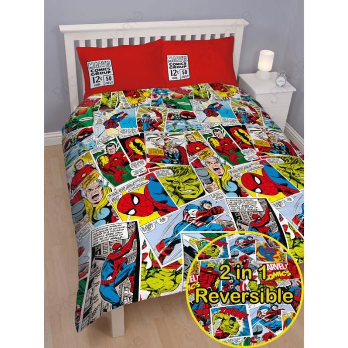 marvel comics housse de couette 2 personnes achat vente housse de couette cdiscount. Black Bedroom Furniture Sets. Home Design Ideas