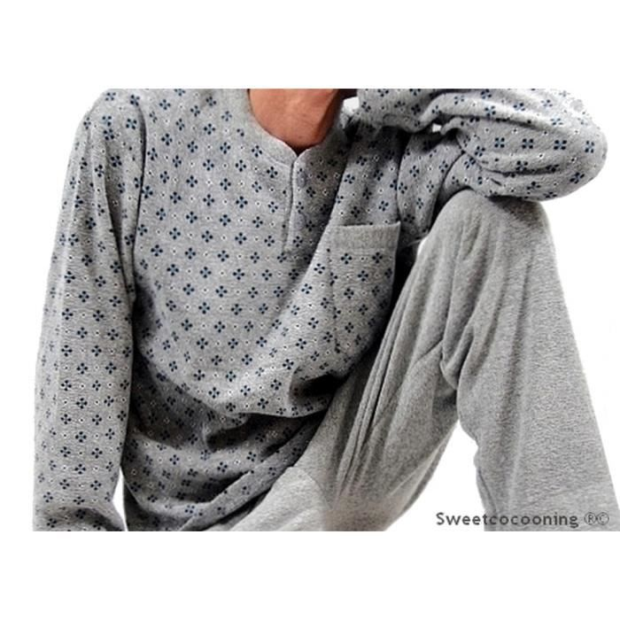 pyjama d 39 hiver chaud homme int rieur molletonn gris achat vente pyjama chemise de nuit. Black Bedroom Furniture Sets. Home Design Ideas