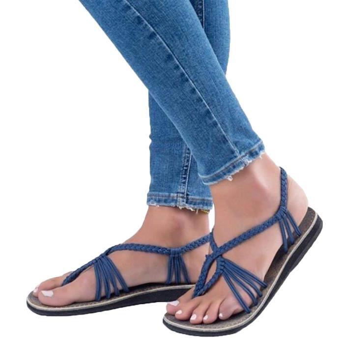 TONG Minetom Tressée Sandales Été Femmes Chaussures De