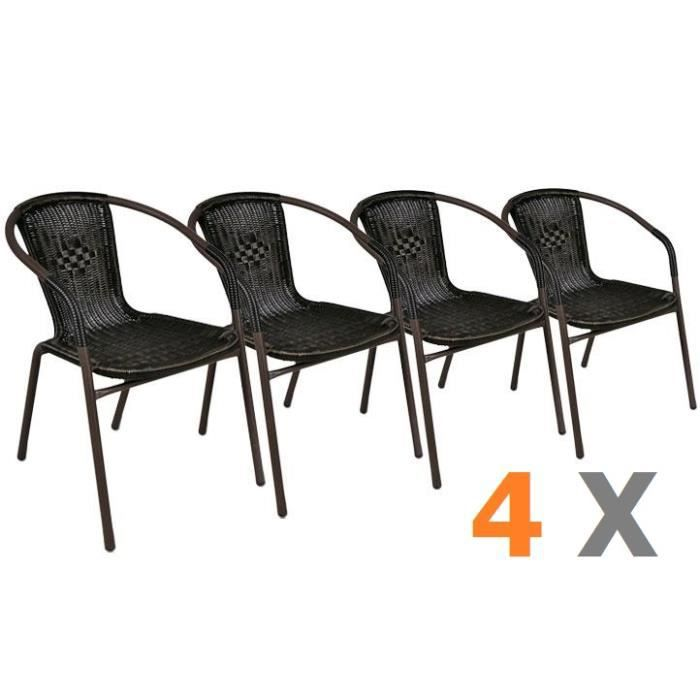 4 x chaises bistro poly rotin empilable achat vente. Black Bedroom Furniture Sets. Home Design Ideas