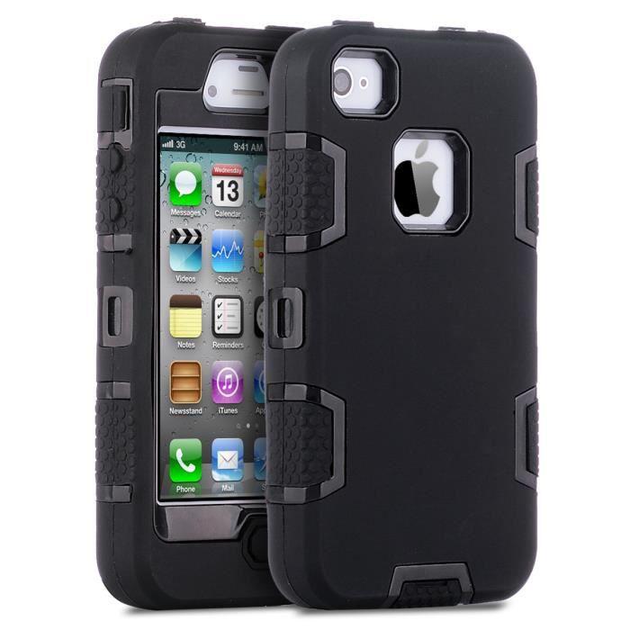 Coque iPhone 4S, ULAK Housse Étui Hybride Couche 3 en Silicone et ...