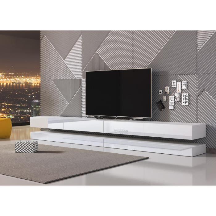 VIVALDI Meuble TV - FLY DOUBLE - 280 cm - blanc mat / blanc brillant sans  LED - style moderne