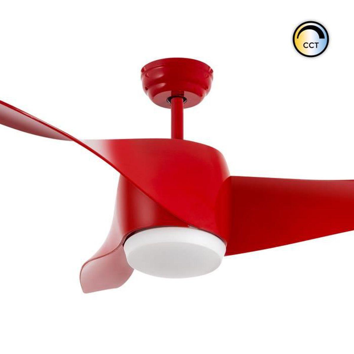 Couleur Avec Du Rouge ventilateur de plafond led hellice avec tª couleur