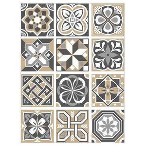 STICKERS Stickers Carreaux de Ciment - FEATHERGREY - 12 piè