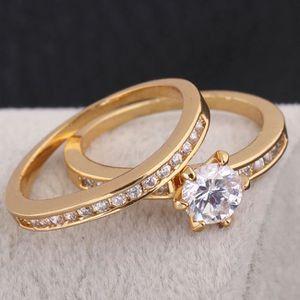 BAGUE - ANNEAU Bague de mariage 18k en or jaune plaqué ensemble d