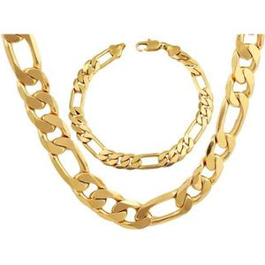 CHAINE DE COU SEULE Pinkpouss® ensemble de bijoux lourds plaqué or 24k