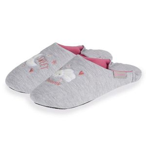 CHAUSSON - PANTOUFLE Chaussons Femme Broderie Nuage - Gris - 67225-Aa1-
