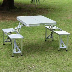 Table De Camping Pique Nique Pliante Aluminium 4 Places En Valise