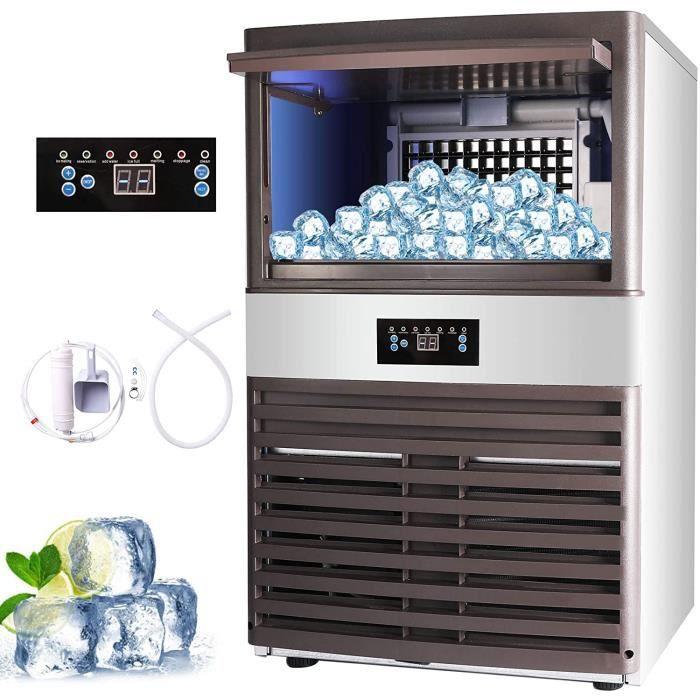 Machine à Glace Commerciale Capacité de 88 kg Machine à Glaçons Électronique 400W-500W 5X11-55 pcs Machine à Glace pour Bar Maison