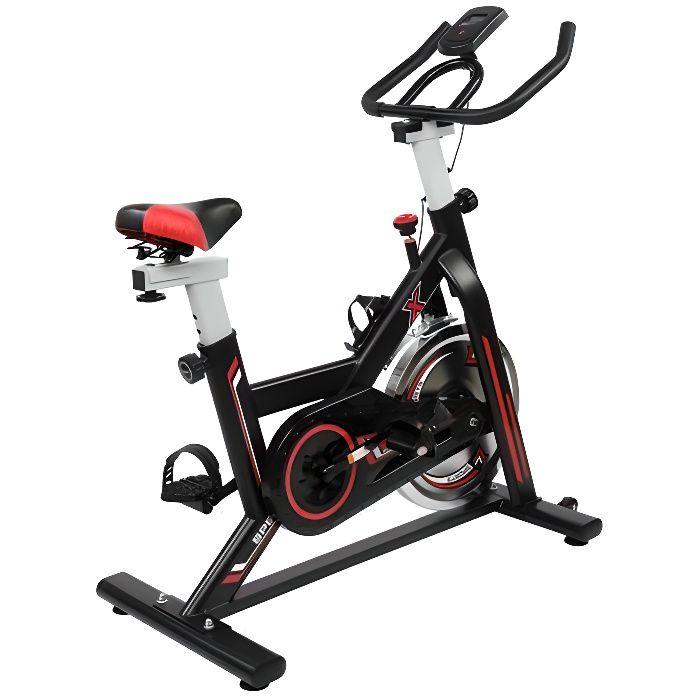 Vélos d'appartement, pour Spinning,Roue directionnel,Transmission par Courroie Fixe,Siège réglable, Affichage LCD 105*50*118cm