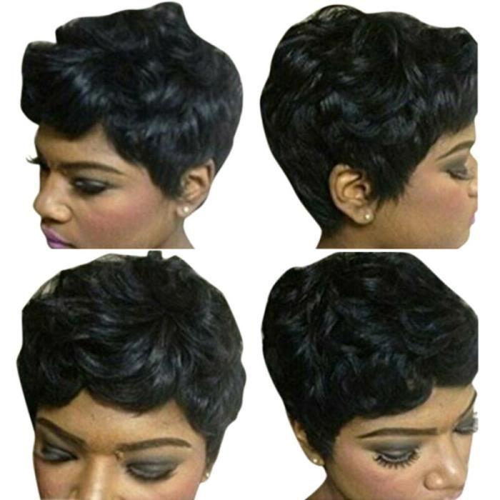 Perruques courtes noir bouclées Pixie pour femmes faux cheveux africaines