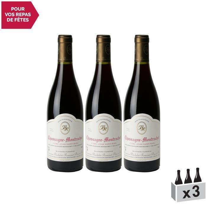 Chassagne-Montrachet 1er Cru Clos Saint-Jean Rouge 2018 - Lot de 3x75cl - Domaine Bachelet-Ramonet - Vin AOC Rouge de Bourgogne -