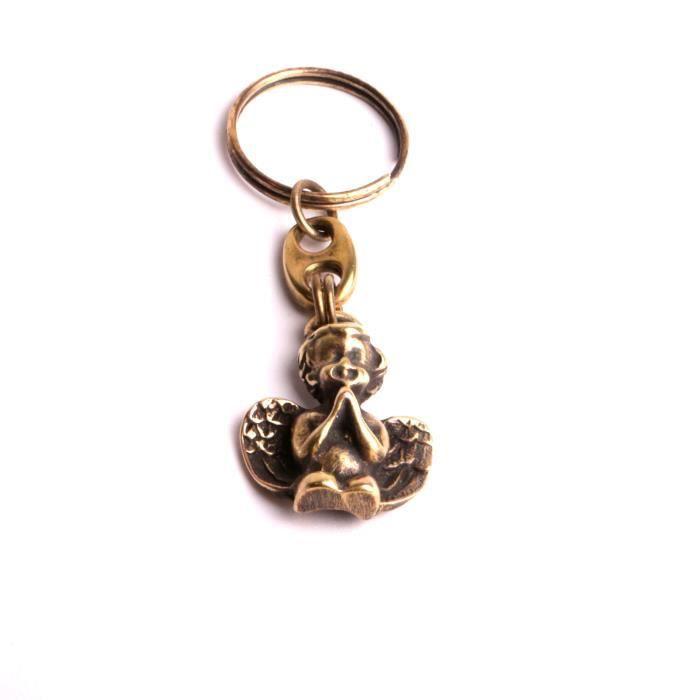 Porte bonheur ange monté en porte clefs vieux bronze création et fabrication handmade par by mode France.