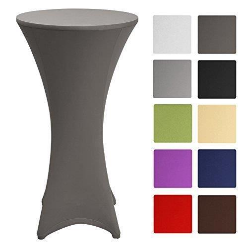 Beautissu Housse de table bistrot 60-65cm Anthracite - Mange debout - Deco Cocktail - Stretch spandex - Stella