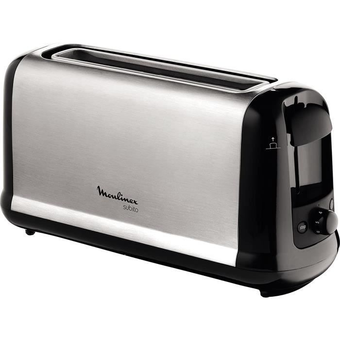 GRILLE PAIN MOULINEX Subito inox Grille pain 1 longue fente toaster Thermostat 7 positions Deacutecongelation Rechauffage Remonte1
