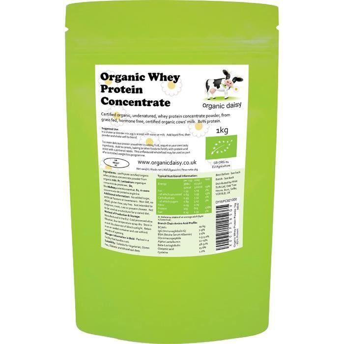 Amaigrissement et perte de poids Bio Lactosérum Poudre de Protéine 1 kg Nourri à l'herbe Naturel Organic Whey Protein Co 552854