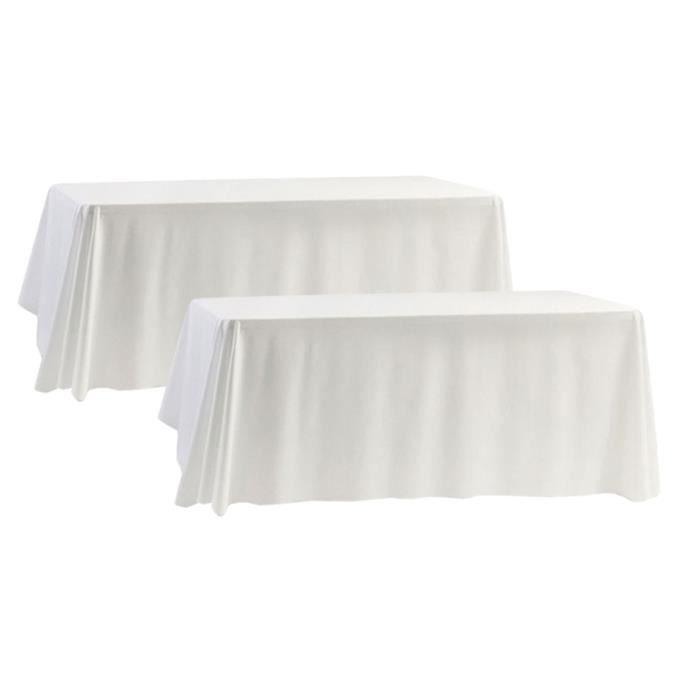 Lot de 10 Nappes - Polyester - Blanc - 150 x 255 cm