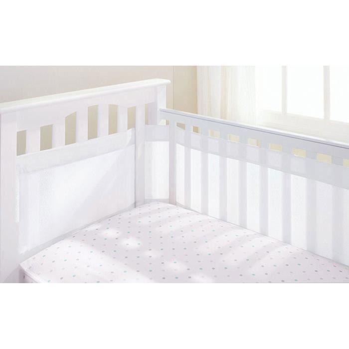 Breathable Baby Tour de lit 4 côtés pour berceau avec circulation de l'air doublure en maille - Blanc