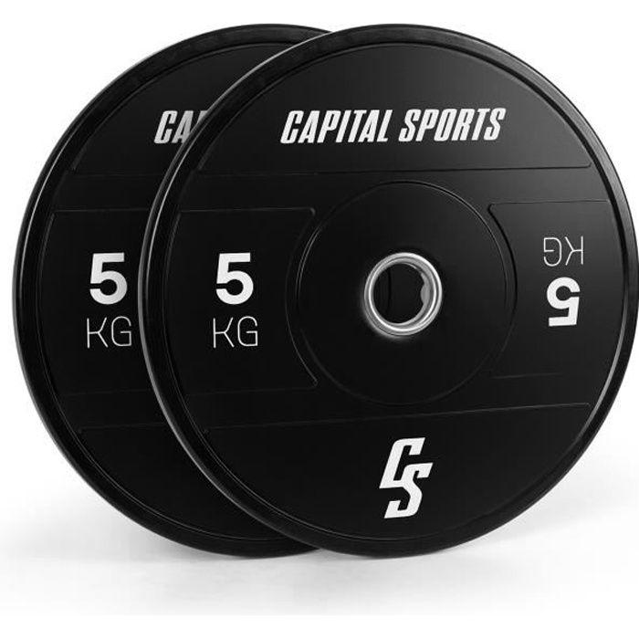 CAPITAL SPORTS Elongate 2020 Bumper Plates : Set disques pour haltère , 2x 5kg , ouverture 50,4 mm , caoutchouc dur - Noir