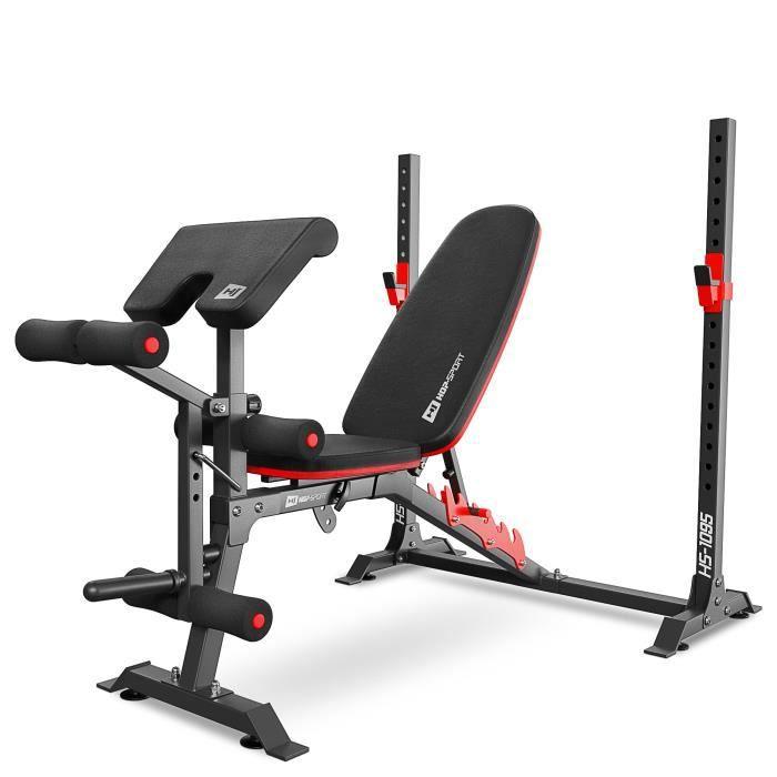 HS Hop-sport Banc de musculation HS-1095 avec support barre et pupitre, banc réglable